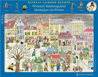 Marktplatz im Winter - 48 Teile Wimmel-Rahmenpuzzle