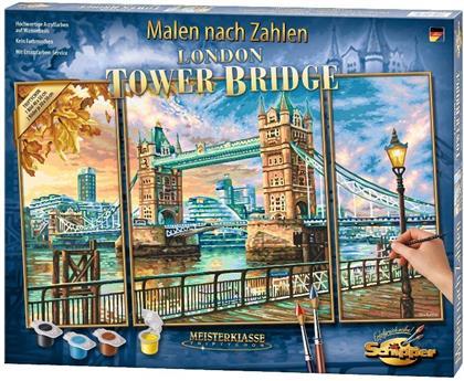 The Tower Bridge in London - Spezialkarton mit Leinenstruktur, dreiteiliges Bild: Gesamtbildgröße: 50 x 80 cm (1 Bild 50 x 40 cm, 2 Bilder je 50 x 20 cm), Acrylfarben, Pinsel. Mit Bauanleitung für rahmenlose Bildträger. Ohne Rahmen!