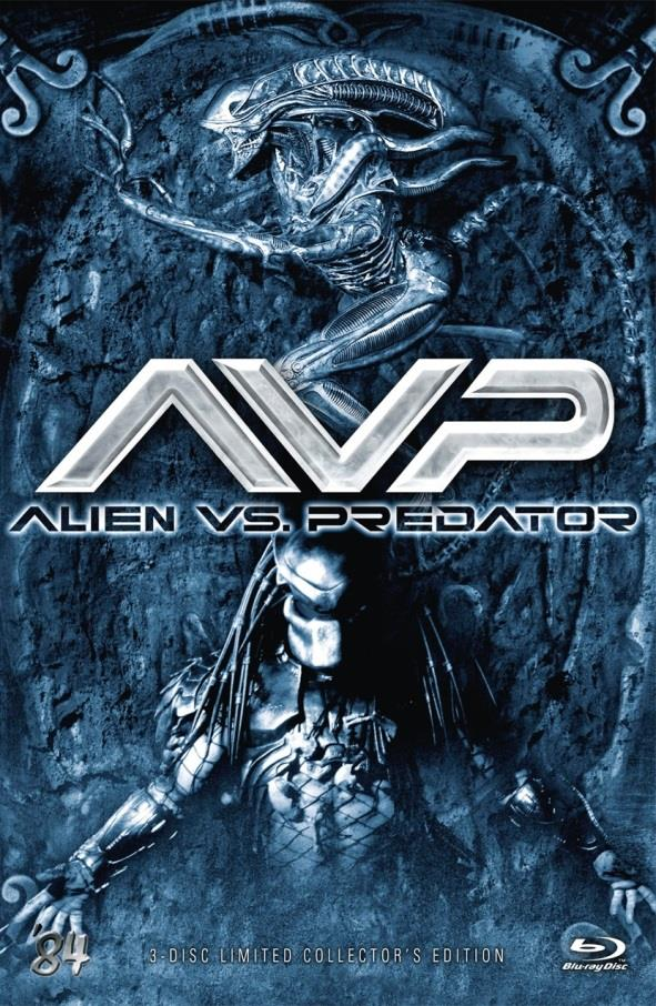 AVP - Alien vs. Predator (2004) (Cover B, Grosse Hartbox, Collector's Edition, Extended Edition, Limited Edition, Uncut, Blu-ray + 2 DVDs)