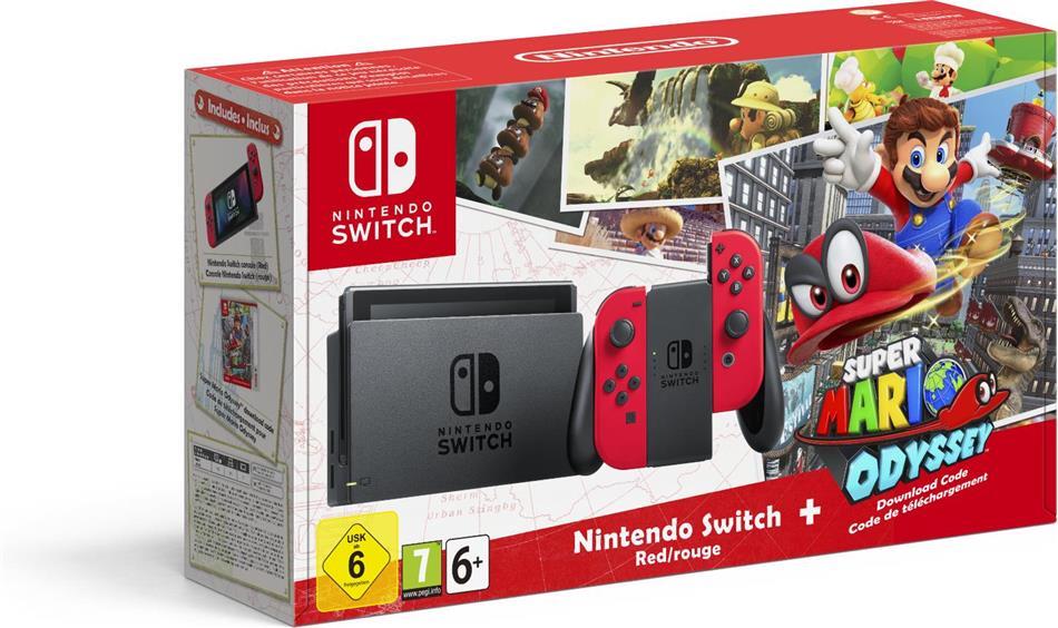 Nintendo Switch-Konsole Rot + Super Mario Odyssey