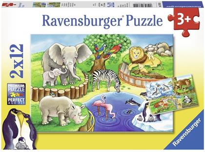 Tiere im Zoo - 2 x 12 Teile Puzzles