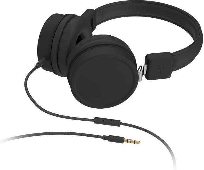 KitSound Brooklyn Wired On Ear Headphones - black
