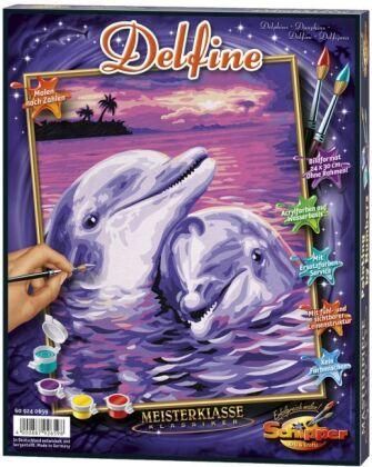 Delfine - Spezialkarton mit Leinenstruktur, Acrylfarben, Pinsel. Ohne Rahmen!