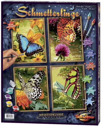 Schmetterlinge - Spezialkarton mit Leinenstruktur, Acrylfarben, Pinsel. Ohne Rahmen!
