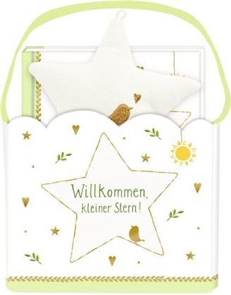 """Geschenkset """"Willkommen, kleiner Stern!"""" - Geschenktäschchen mit Plüschstern und Büchlein"""