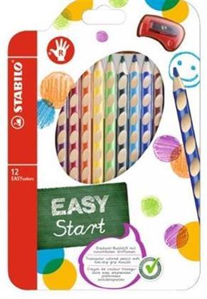 Ergonomischer Buntstift für Rechtshänder - STABILO EASYcolors - 12er Pack mit Spitzer - mit 12 verschiedenen Farben