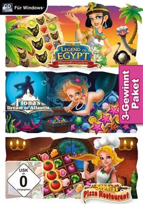 3-Gewinnt Paket - Legend of Egypt - Pharaoh's Garden / Fionas Dream of Atlantis / Sophias Pizza Restaurant