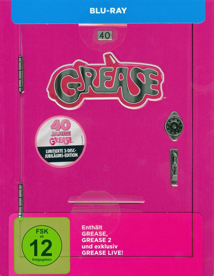 Grease - Grease / Grease 2 / Grease Live! (40th Anniversary Edition, Limited Edition, Steelbook, 3 Blu-rays)