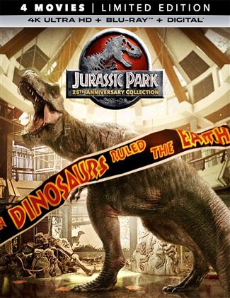 Jurassic Park 1-4 (25th Anniversary Edition, Limited Edition, 4 4K Ultra HDs + 4 Blu-rays)