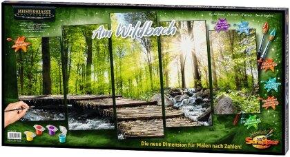 Am Wildbach - Spezialkarton mit Leinenstruktur, fünfteiliges Bild: Gesamtbildgröße: 132 x 72 cm. Acrylfarben, Pinsel. Mit Bauanleitung für rahmenlose Bildträger. Ohne Rahmen!