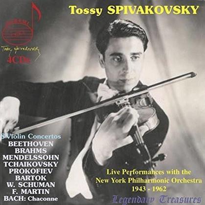 Béla Bartók (1881-1945), William Schuman (1910-1992), Frank Martin (1890-1974), Johann Sebastian Bach (1685-1750), Ludwig van Beethoven (1770-1827), … - 8 Violin Concertos - Live Performances 1943-1962