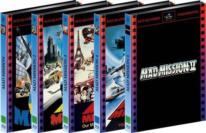 Mad Mission 1-5 (Bundle, Kult-Klassiker Ungeschnitten, Limited Edition, Mediabook, Uncut, 9 Blu-rays + 9 DVDs)