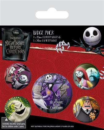 Nightmare Before Christmas: Characters - Ansteck-Buttons 5er-Pack