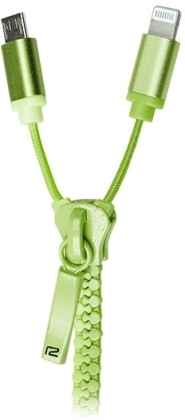ready2power 2in1 Zipper Charge&Sync Cable - green