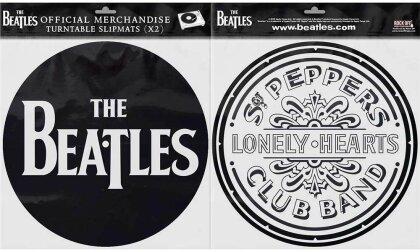 The Beatles Turntable Slipmat Set - Drop T Logo & Sgt Pepper Drum (Retail Pack)