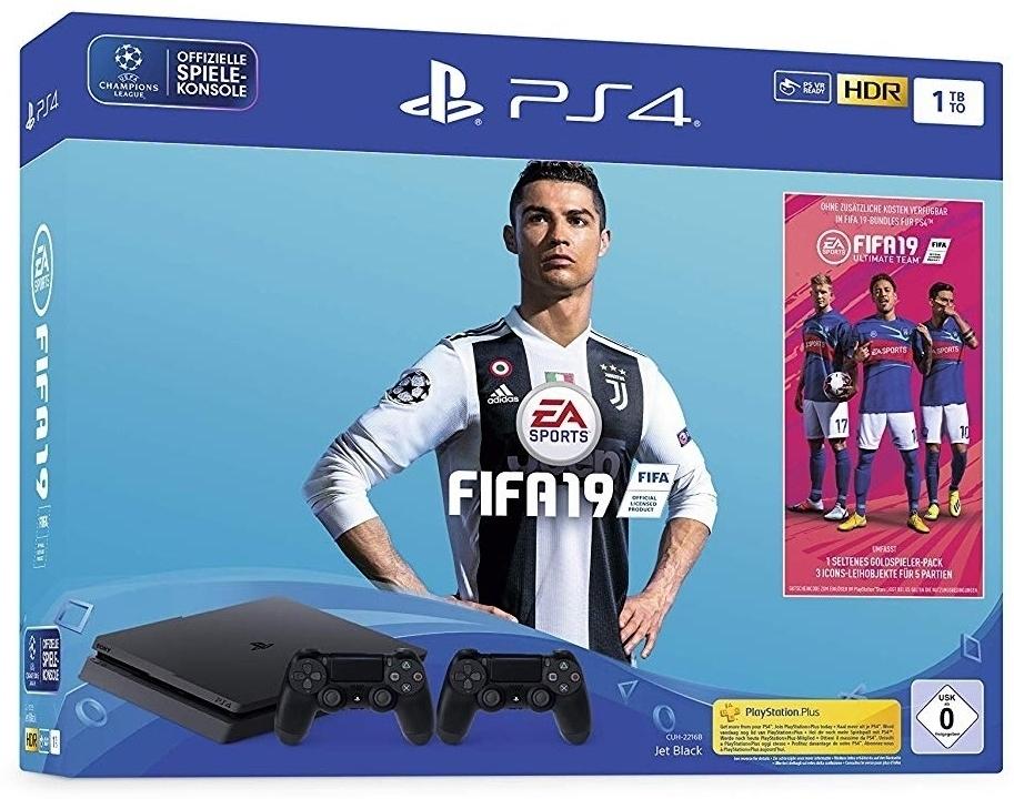 Sony Playstation 4 1TB SLIM + Fifa 19 + 2. Controller