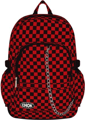 Chok Black & Red Checker Canvas Backpack