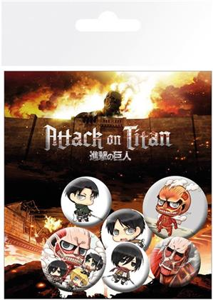 Attack On Titan - Chibi Characters Badge Pack
