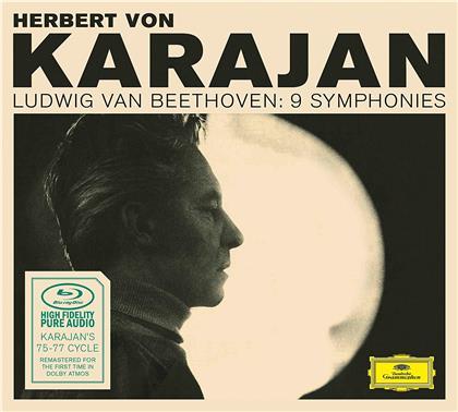 Ludwig van Beethoven (1770-1827) & Herbert von Karajan - 9 Symphonies - 1975-77 Recordings - Blu-Ray Audio Only (Dolby Atmos, 2 Blu-rays)