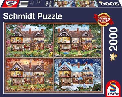 Jahreszeiten Haus - 2000 Teile Puzzle