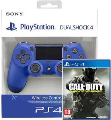 PS4 Controller original Wave Blue V2 + Call of Duty Infinite Warfare