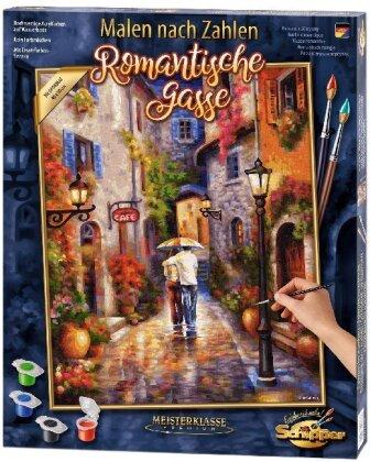 Romantische Gasse - Spezialkarton mit Leinenstruktur, Bildgröße: 50 x 40 cm, Acrylfarben, Pinsel. Ohne Rahmen!