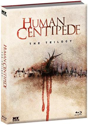 Human Centipede 1-3 - The Trilogy (Wattiert, Limited Edition, Mediabook, Uncut, Blu-ray + DVD)