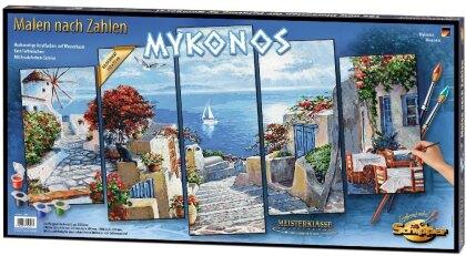 Mykonos - Spezialkarton mit Leinenstruktur, fünfteiliges Bild: Gesamtbildgröße: 132 x 72 cm. Acrylfarben, Pinsel. Mit Bauanleitung für rahmenlose Bildträger. Ohne Rahmen!