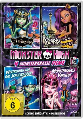 Monster High - 4 monsterkrasse Filme - 13 Wünsche / Scaris - Monsterstadt der Mode / Wettrennen um das Schulwappen / Monsterkrass verliebt (4 DVDs)