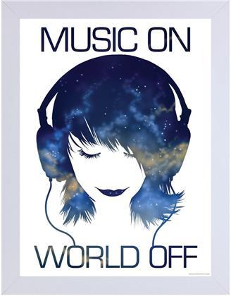 Music On World Off - Wooden Framed Print