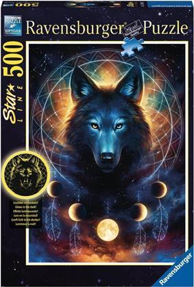 Leuchtender Wolf - 500 Teile Glow-in-the-Dark Puzzle