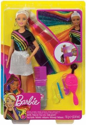 Barbie Regenbogen-Glitzerhaar Puppe (blond)