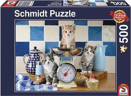 Katzen in der Küche - 500 Teile Puzzle