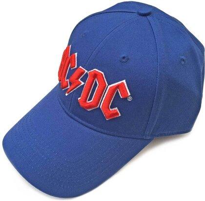 AC/DC Unisex Baseball Cap - Red Logo (Mid Blue)