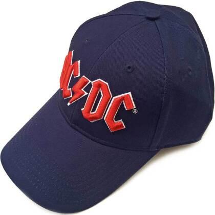 AC/DC Unisex Baseball Cap - Red Logo (Navy Blue)