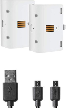 XBOX-One Battery:Kit white NEW 2 Akkus 800mAh + Ladekabel