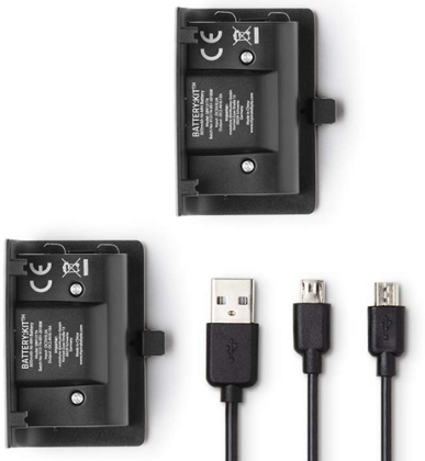 XBOX-One Battery:Kit black NEW 2 Akkus 800mAh + Ladekabel