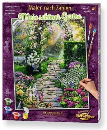 Mein schöner Garten - Spezialkarton mit Leinenstruktur, Bildgröße: 50 x 40 cm, Acrylfarben, Pinsel. Ohne Rahmen!