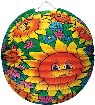 Lampion Sommerblumen rund - Ø 25 Cm, Schwer Entflammbar