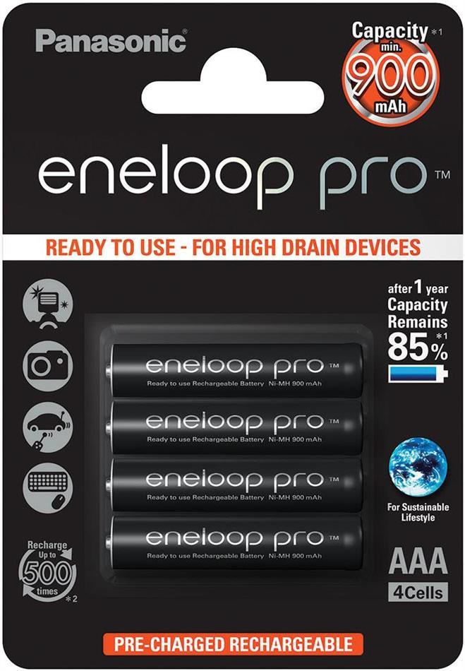 Batterie Eneloop Pro 4xAAA - Pack, 930 mAh, Panasonic