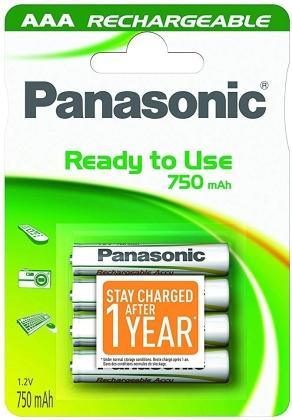 Batterien Panasonic Akku AAA - 4-er Pack, LR03, 750 mAh