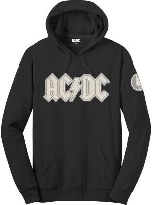 AC/DC Unisex Pullover Hoodie - Logo & Angus (Applique Motifs) - Grösse L