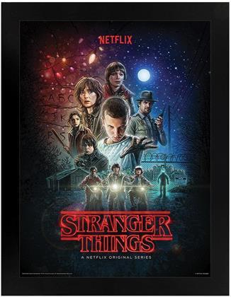 Stranger Things - One Sheet - Black Wooden Framed Poster
