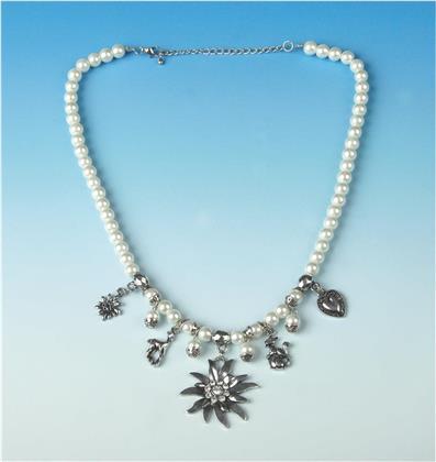 Perlenkette Edelweiss - Weiss-Silber,