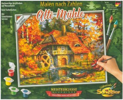 Alte Mühle - Spezialkarton mit Leinenstruktur, Acrylfarben, Pinsel. Ohne Rahmen!