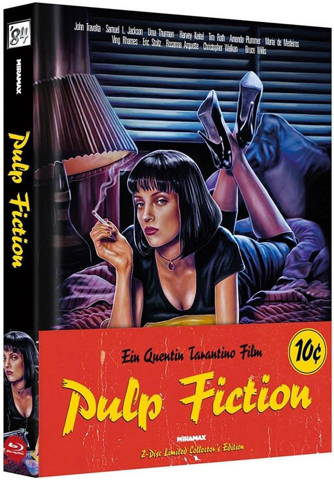 Pulp Fiction (1994) (Wattiert, Cover A, Limited Collector's Edition, Mediabook, Blu-ray + DVD)