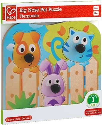 Hape Knopfpuzzle Haustiere - 4 Teile Kinderpuzzle