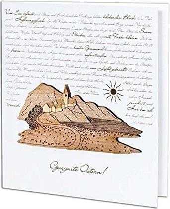 Osterkarte Der Osterspaziergang mit Holzintarsien - Klappkarte, 12,5 x 14 cm, mit Umschlag