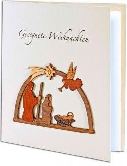 Stille Nacht - Weihnachtskarte mit Holzintarsien