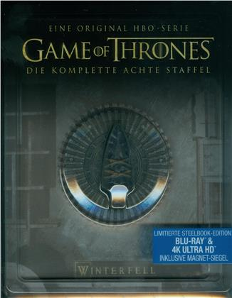 Game of Thrones - Staffel 8 (inkl. Magnet Siegel, Limited Edition, Steelbook, 3 4K Ultra HDs + 3 Blu-rays)